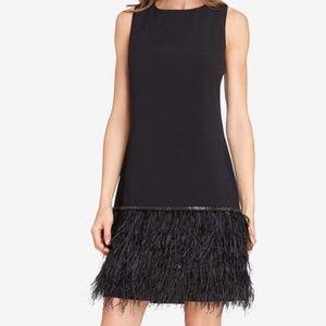 Feather Detail Sleeveless Crepe Shift Dress